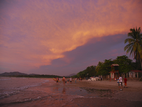 Awesome sunset in Tamarindo for surfing.