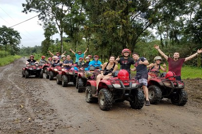 ATV Arenal tour with group pf fun people near the Arenal Volcano with Desafio.