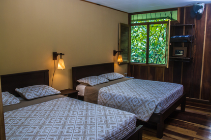 A double room at eco-tourist hotel Laguna Lodge in Tortuguero