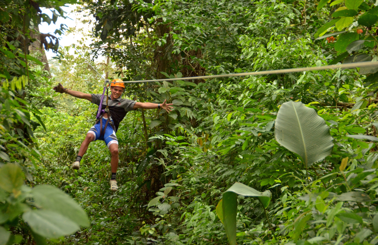 The best Costa Rica extreme combo tour canyoning, biking, rafting, zipline in one day.
