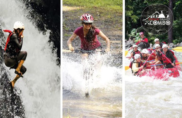 The best full day Costa Rica extreme combo tour canyoning, biking, rafting