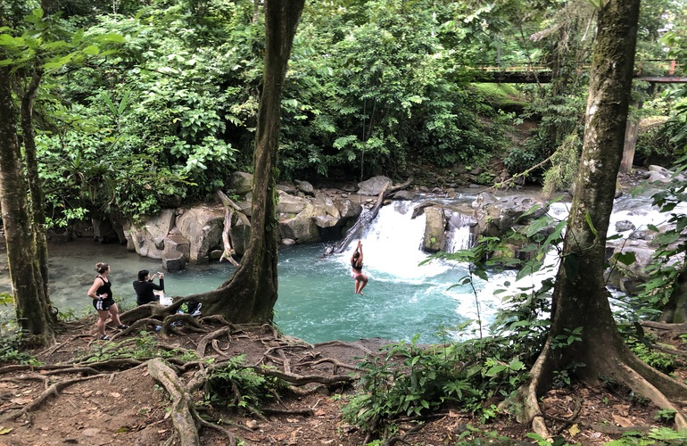 Visit a secret swimming hole on the Desafio La Fortuna City Tour.