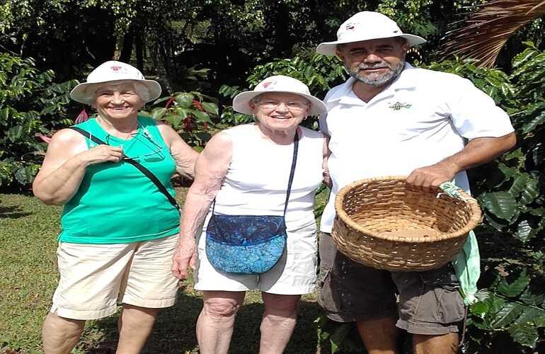 Enjoying the Costa Rican sunshine at the La Fourtuna Organic Coffee Tour