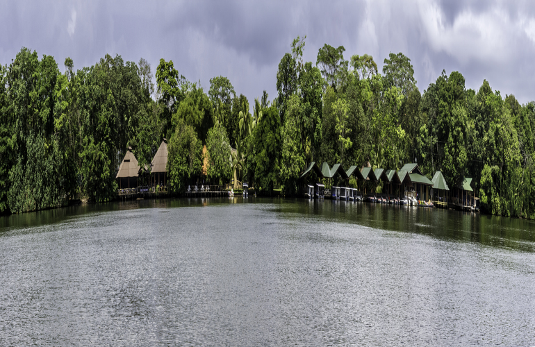 Panoramic view of Tortuguero Lagoon in Costa Rica