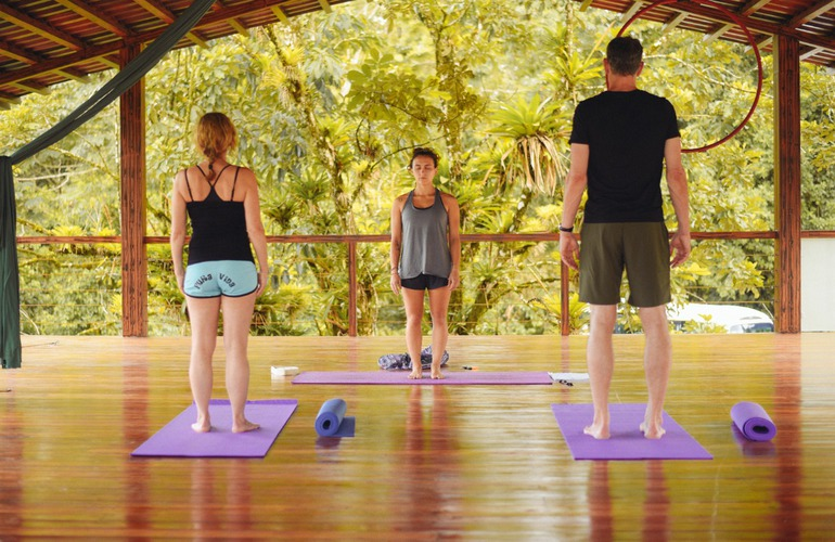 The best place to do yoga in La Fortuna Costa Rica at the Desafio Active Wellness Center next to the El Salto Swimming Hole.