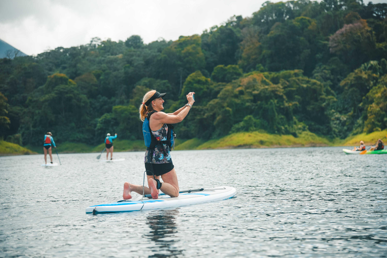 Enjoying stand up paddling in Lake Arenal!