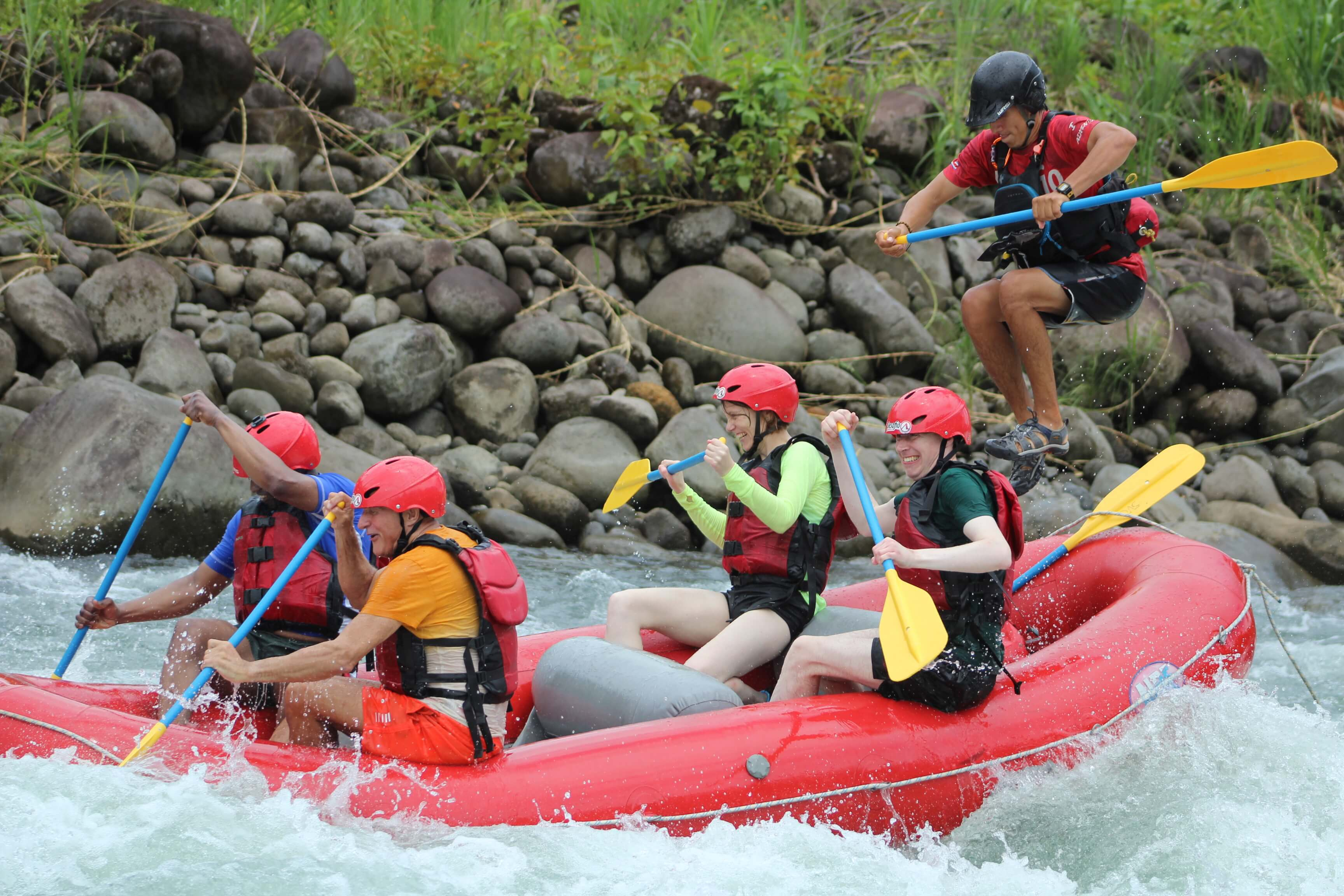 Our guides enjoy their jobs on this extreme white water rafting trip in Costa Rica on the Sarapiqui River.