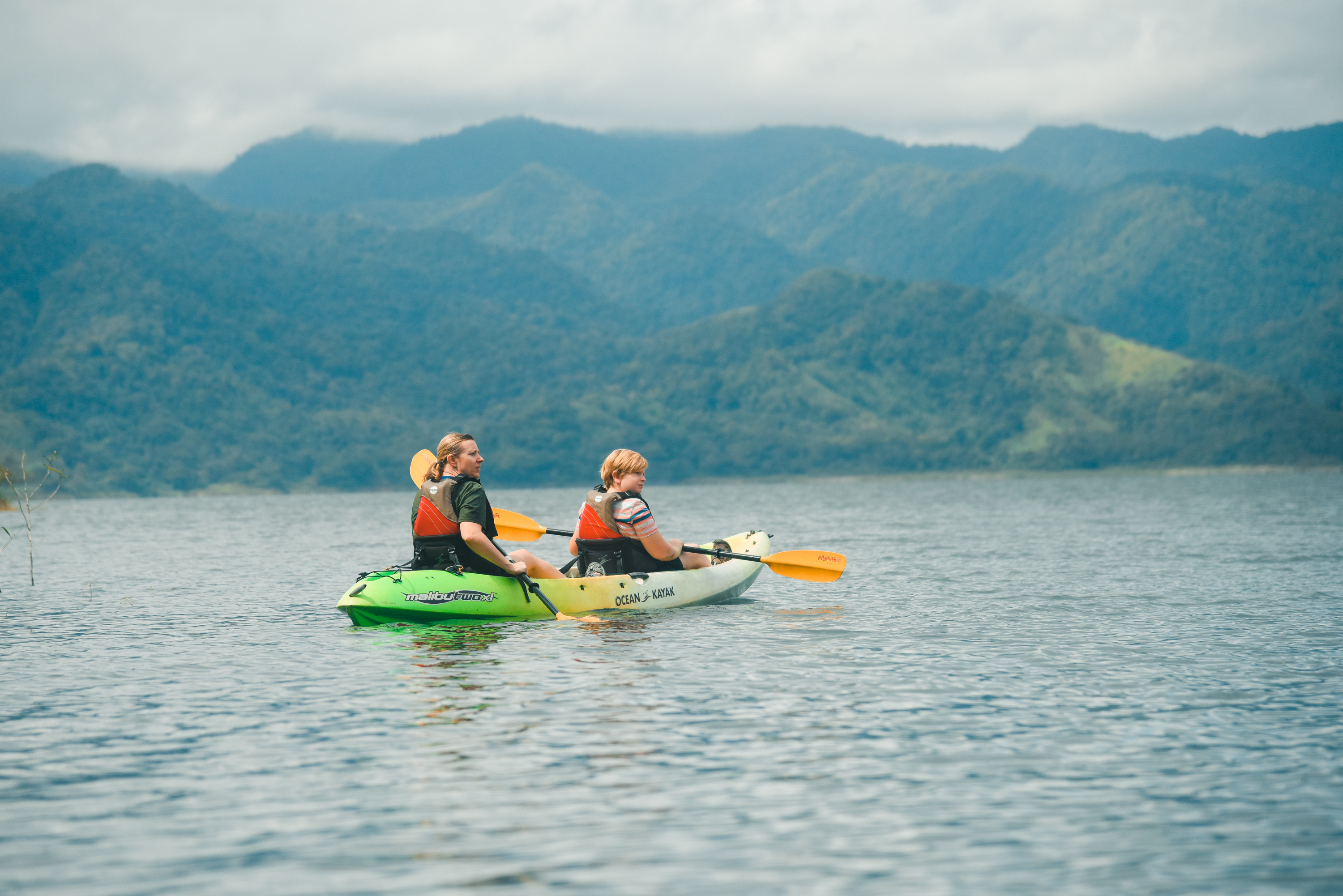 Fun in the Sun while kayaking on Lake Arenal with Desafio Adventure Company.