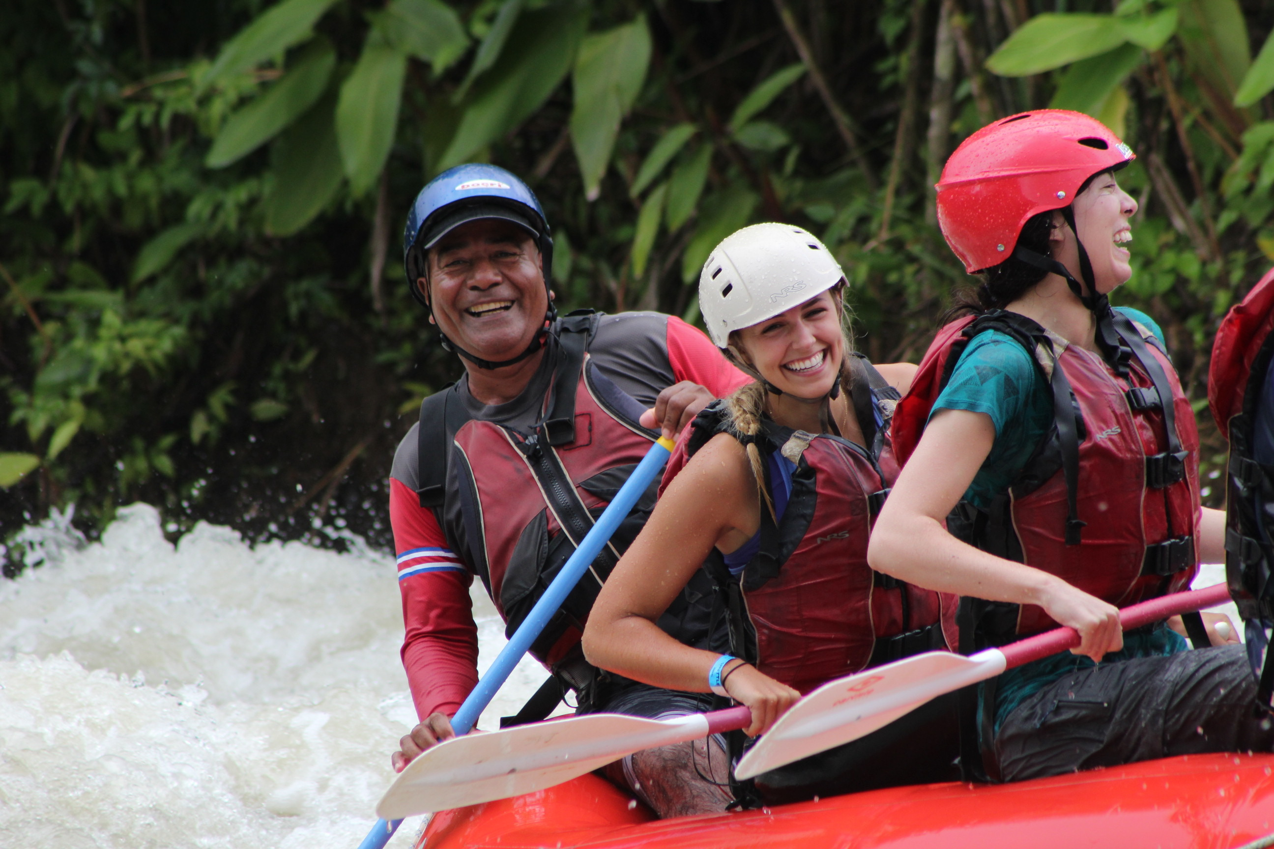 Challenge yourself as you paddle down 10 kilometers of fun and slower rolling rapids
