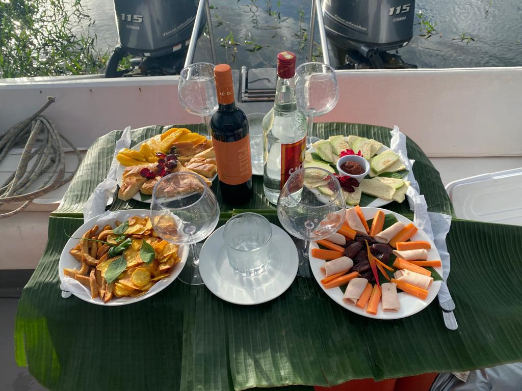 A delicious spread for a lovely Sunset Cruise on Lake Arenal with Desafio Adventure Company.