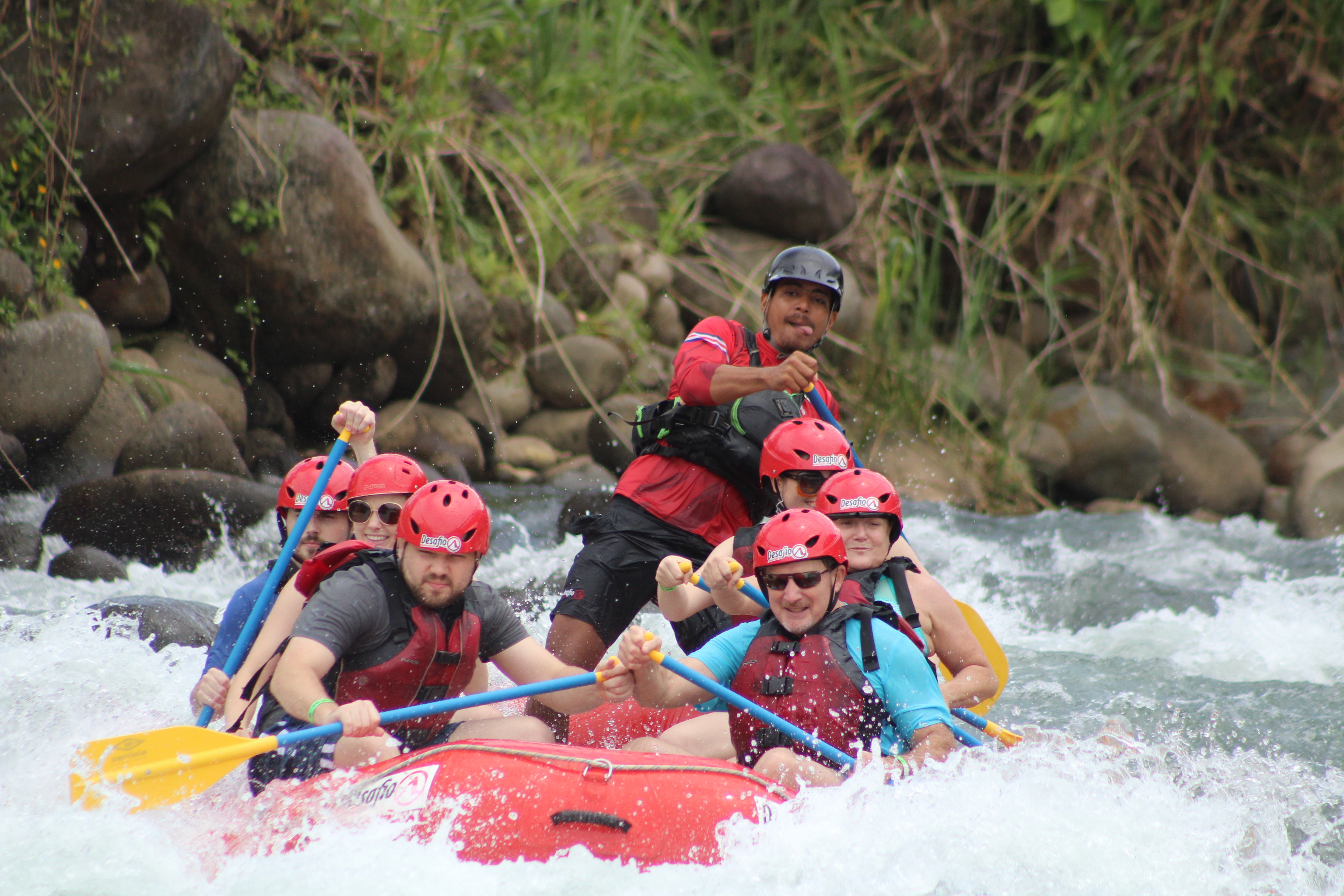 Having fun rafting in Costa Rica.