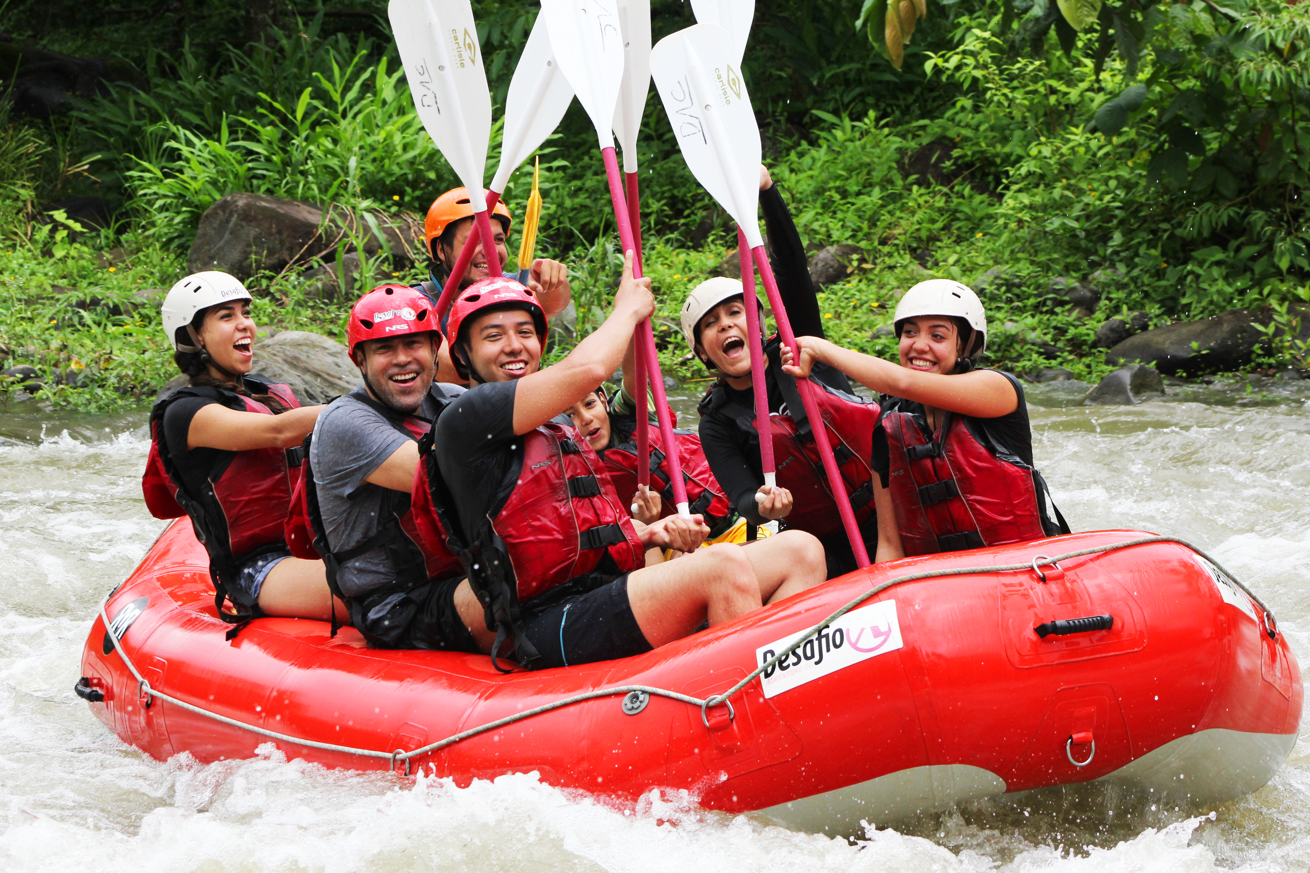 Challenge yourself as you paddle down 10 kilometers of exciting rapids with names