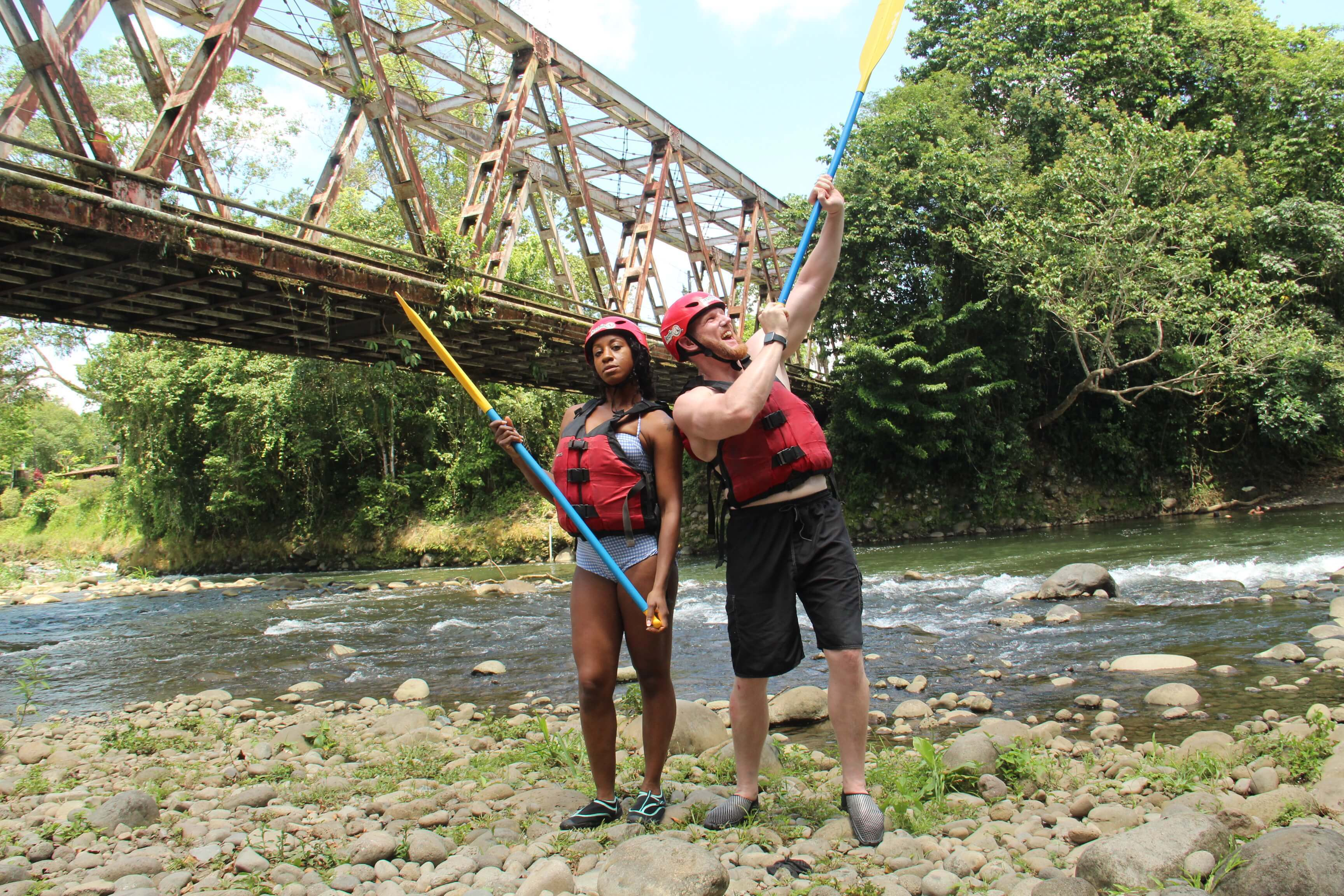 So much fun river rafting on the Class 2 and 3 Sarapiqui River with Desafio Adventure Company.