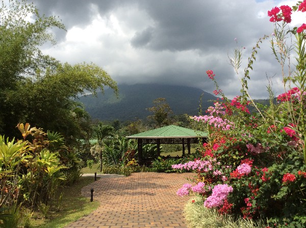 Lush, tropical gardens and volcano views at Arenal Manoa Resort and Hot Springs. Desafio can help you get all the best rates on hotels, transportation and adventures in Arenal and anywhere in Costa Rica!