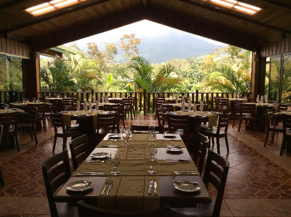 Dining at the base of a volcano at Arenal Manoa Resort and Hot Springs. Desafio can help you get all the best rates on hotels, transportation and adventures in Arenal and anywhere in Costa Rica!