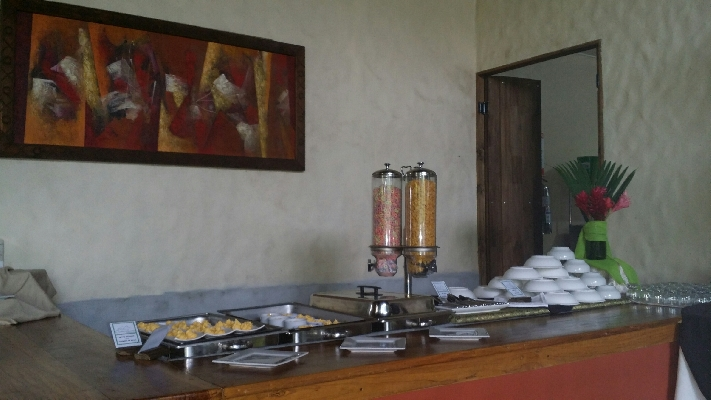 The snack buffet at Casa Luna Hotel in La Fortuna near the Arenal Volcano and Waterfall.