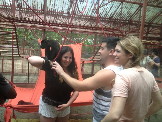 Having fun with a little monkey in Jaguar Rescue Center!