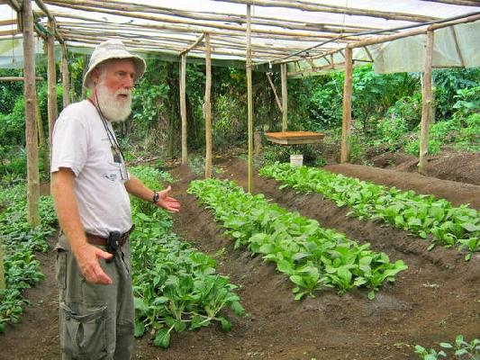 Steven, the owner and his biodynamic veggie garden at Finca Luna Nueva outside of La Fortuna, Costa Rica.