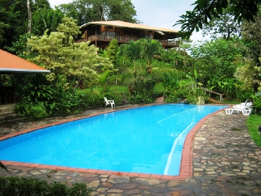The refreshing ozonated swimming pool at FInca Luna Nueva near La Fortuna, Costa Rica.