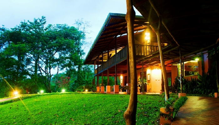 Guest rooms at Casa Luna at dusk at Finca Luna Nueva near La Fortuna, Costa Rica!