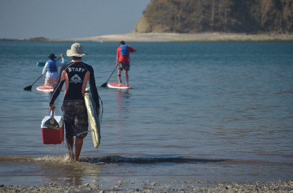 Getting ready for Stand Up Paddle in Samara, Costa rica.