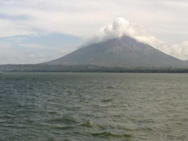 The beautiful Lake Nicaragua and volcano, right beside Granada, Nicaragua.