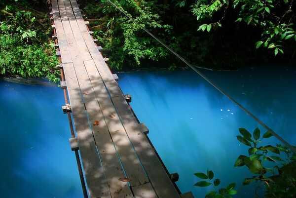 The hanging bridge above Rio Celeste, Costa Rica.