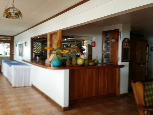 The bar and restaurant at the Guayabo Hotel in Turrialba Costa Rica.
