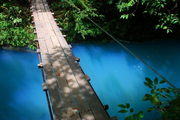 Hike to the blue waterfall in Costa Rica Rio Celeste.