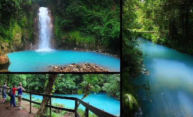 Wonderful views of the blue waterfall in Costa Rica Rio Celeste.