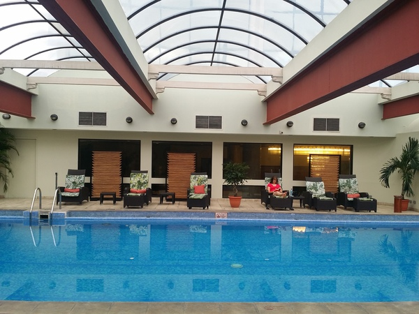 The relaxing indoor pool area. at Holiday Inn Aurola in downtown San Jose, Costa Rica.