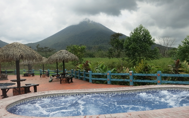 Huge Jacuzzis in the shadow of the Arenal Volcano at La Pradera in La Fortuna, Arenal Costa Rica