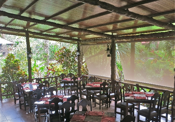 Dining in nature at Los Lagos hotel in Arenal, Costa Rica. Desafio can take care of all of your adventure, hotel and transportation needs while visiting Costa Rica!
