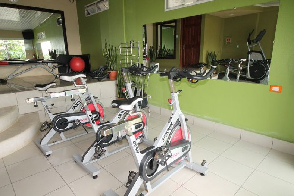 A fully equipped gym is just another amenity at hotel Poco a Poco in Monteverde, Costa Rica.