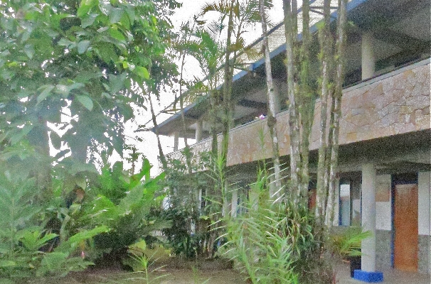 Outside of Hotel San Bosco, the perfect place for a budget friendly vacation in La Fortuna. Arenal!
