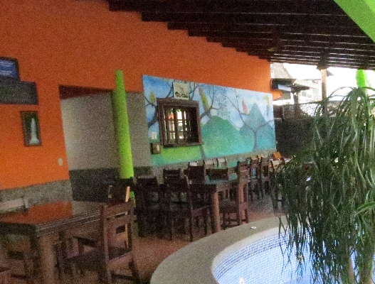 Dining area at Hotel San Bosco, the perfect place for a budget friendly vacation in La Fortuna. Arenal!