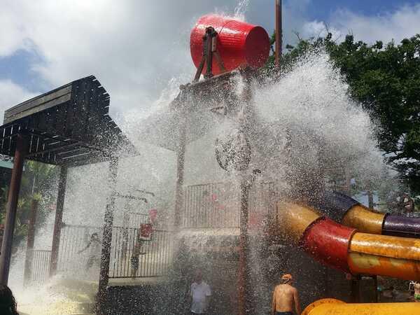 The kids area at Kalambu Hotsprings Waterpark in Arenal.