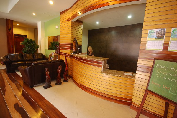 A modern and welcoming lobby with knowledgeable and friendly staff greet you at Hotel La Fortuna. Book your Desafio Adventures right at the front desk!