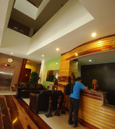 Reception area of Hotel La Fortuna located downtown near Desafio Adventure Company Headquarters.