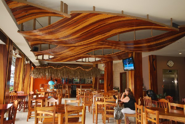 The artistic dining area looks out over downtown La Fortuna Hotel La Fortuna. It is also located just a few blocks from Desafio Adventure Headquarters!