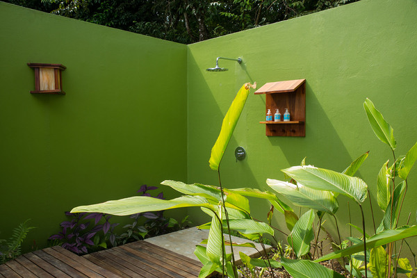 Shower with nature at Lapa Rios in the Osa Peninsula Costa Rica. Desafio can help you book this and other Costa Rica ecolodges as well as plan your vacation to Costa Rica.