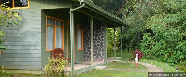 Garden and jungle views from the bungalow style cabins at Monteverde Cloud Forest Lodge.