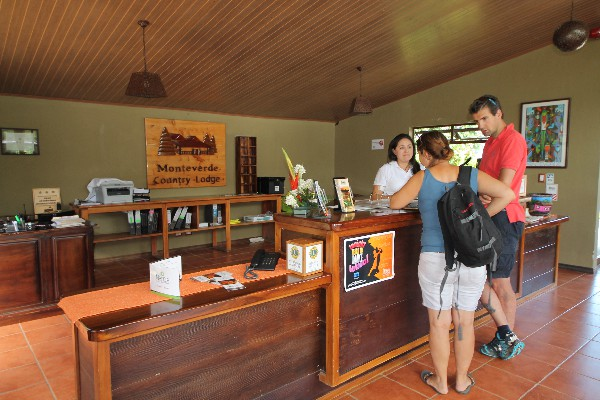 Friendly staff can help you at the front desk at Monteverde Country Lodge.