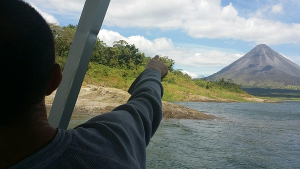 Looking at the amazing views of the Arenal Volcano from the Desafio boat.
