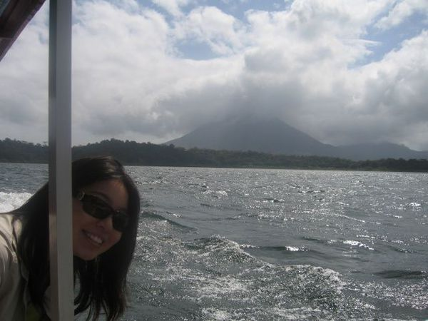 On the Desafio boat, crossing Lake Arenal.