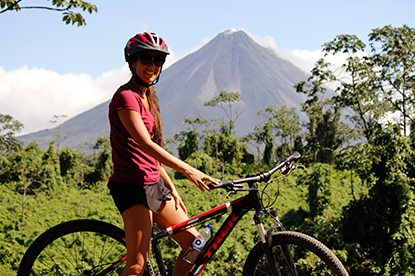 Great views of the Arenal Volcano on the Single Track Madness with Desafio.