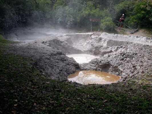 Beautiful view of Rincon de la Vieja mud pools in Guanacaste.