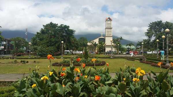 The central park and church in La Fortuna, Costa Rica.