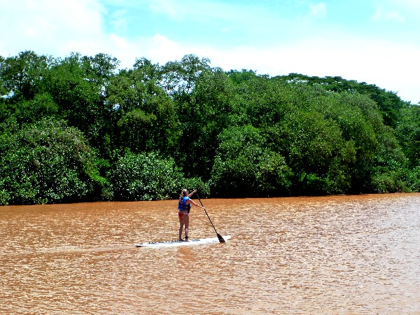 . The tranquil Ora River is the perfect setting to learn the popular water sport of Stand Up Paddle in Costa Rica
