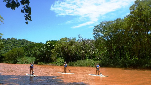 Your guide will teach you the basics of how kneel, then stand up on the wide, buoyant paddle board